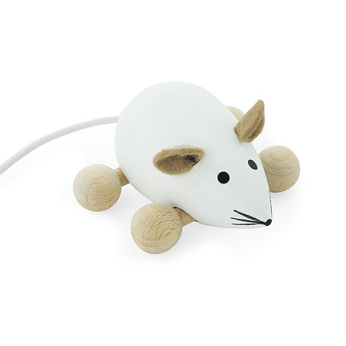 Wooden Push Along Toy | Snowflake Mouse