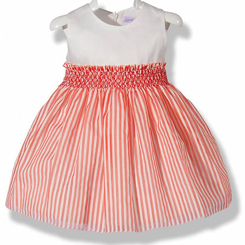 Spanish White and Red Stripe Dress Front