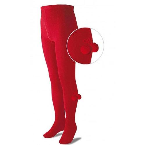 Carlomagno CHPOM Red Pom Pom Tights