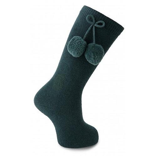 Carlomagno 2947 Navy Pom Pom Knee High Sock