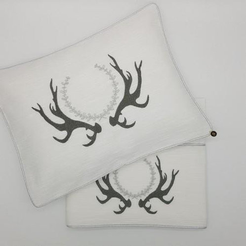 Small Dreams 2pc Grey and White Antler Pattern Bassinet Sheet Set