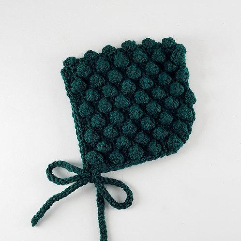 Forest Green Crochet Bobble Pixie Bonnet | Medium