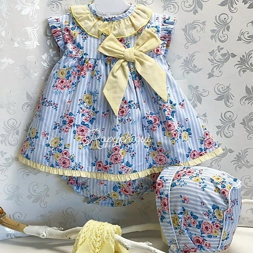 Baby Ferr Blue Stripe Dress w/ Bloomers | 24m