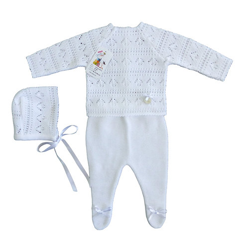 Creaciones Gavidia White Stripe Knitted 3 Piece Set