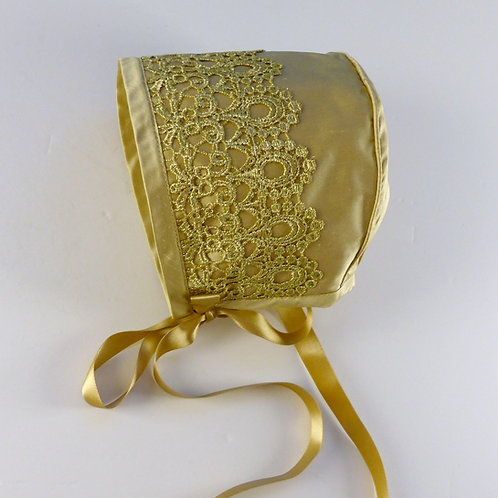 Gold Silk Bonnet with Lace