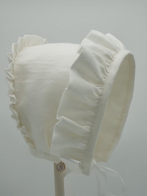 Small Dreams Embroidered Linen Bonnet | White