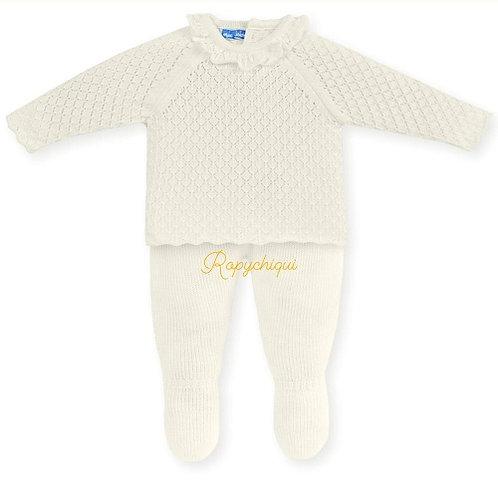 Mac Ilusion Ruffle Knitted 2 Pc Set | Cream