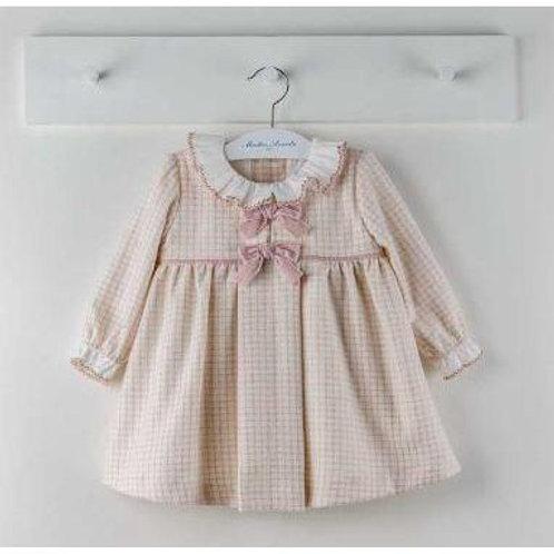 Martin Aranda Pink Check Dress w/ Frill Collar | 9m