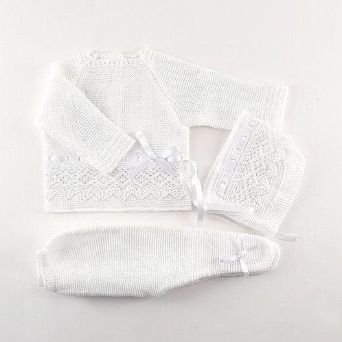 Creaciones Gavidia White with Lace Knitted 3 Piece Set