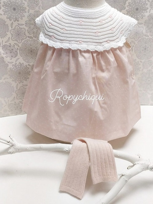 PCS Baby Pink Dress with Knitted Collar | 9m