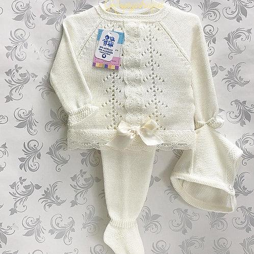 Vistiendo Bebes Cream Knitted 3 Pc Set