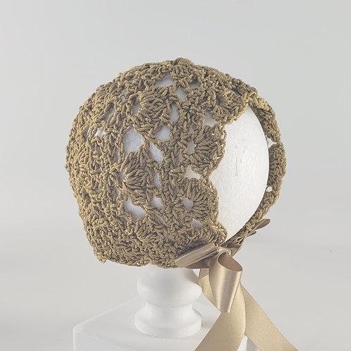 Gold Crochet Bonnet   Medium
