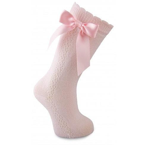 Carlomagno UKG3 Pale Pink Bow Knee High Sock