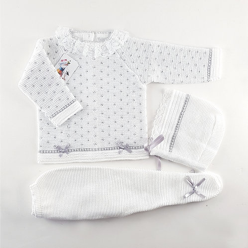 Creaciones Gavidia White with Grey Spots 3 Pc Set | 6m