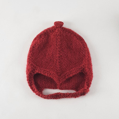Hand Knitted Deep Red Baby Helmet | Small