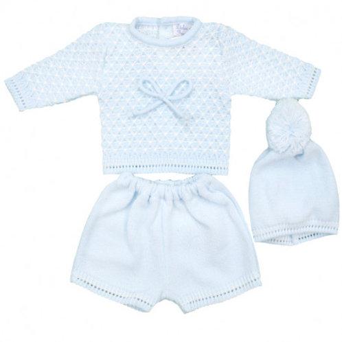 Dulce de Fresa Pale Blue Knitted 3 Piece Set