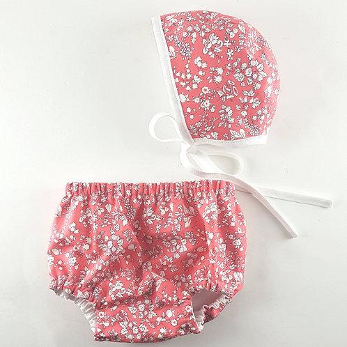 Bramble Reversible Linen+Liberty Bonnet & Bloomer Set