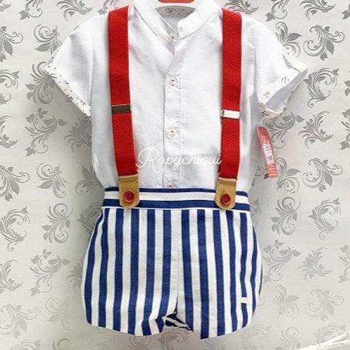 Del Sur Navy Stripe Overalls & Shirt Set  | 12m