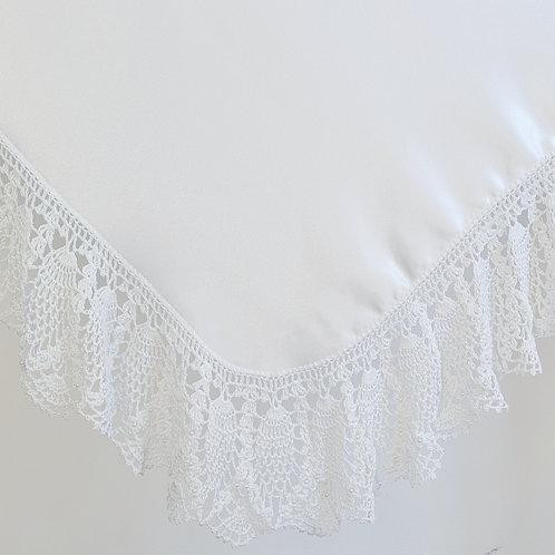 Crochet White Extra Wide Border Satin Wrap & Pillowcase