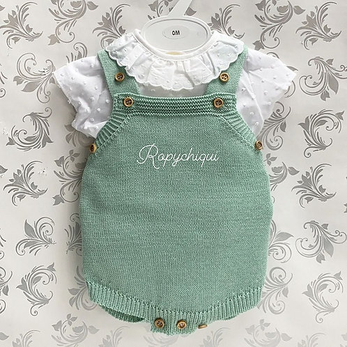 Maria's Green Knitted Overalls & Shirt Set | NB