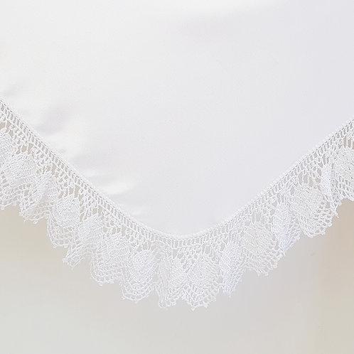 Crochet White Beaded Satin Wrap & Pillowcase