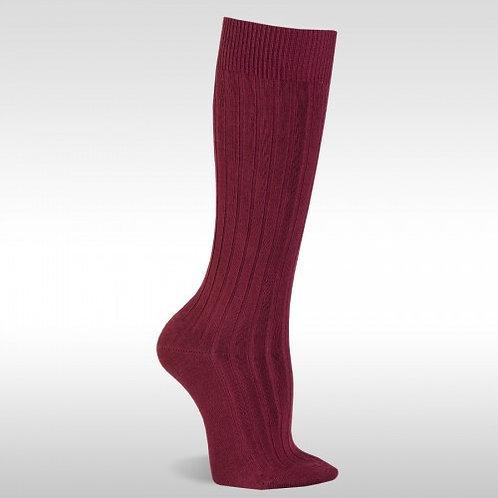 JC 52900 Maroon Ribbed Knee High Sock