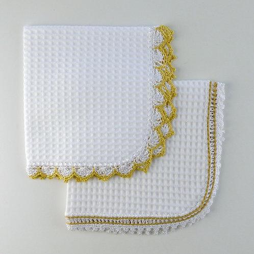 Crochet Edging White Waffle Burp Cloth Unisex Colours