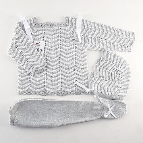 Creaciones Gavidia Grey Chevron Knitted 3 Piece Set | 12m