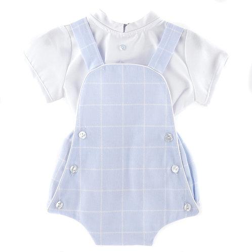 Baby Ferr Pale Blue Checked Romper w/ Shirt   1m