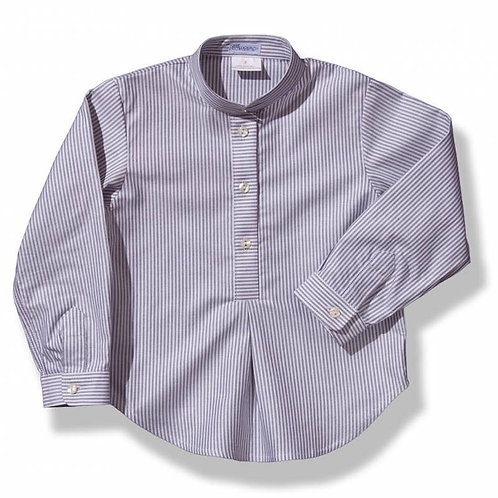 Spanish Ancar Grey Striped Shirt Front