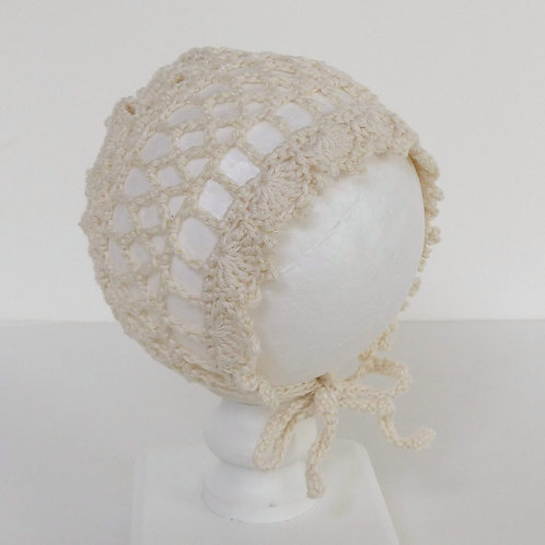 Cream Openwork Cotton Crochet Bonnet