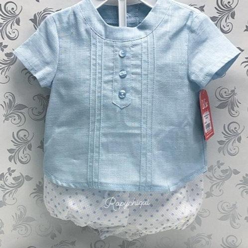 Del Sur Pale Blue Shirt & Spot Bloomers Set | 6m
