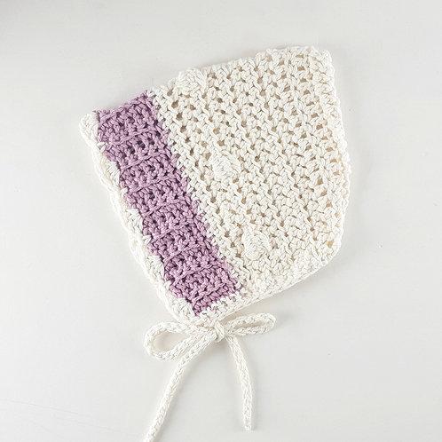 Cream & Mauve Crochet Vintage Style Pixie Bonnet | Large