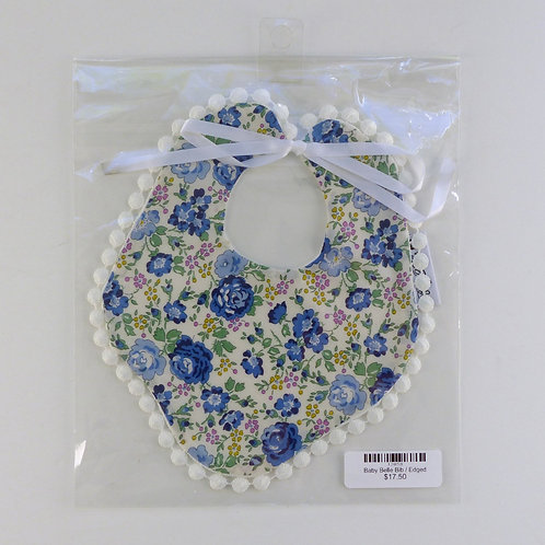 Baby Belle Bib Blue Floral with White Edging