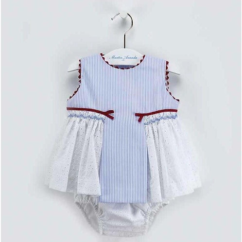 Martin Aranda Blue & Red Dress & Bloomers Set | 6m