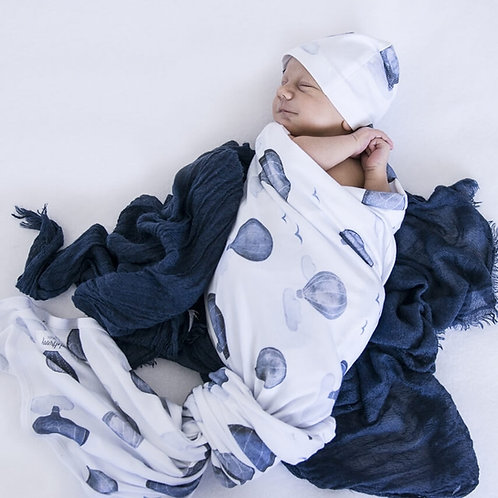 Snuggle Hunny Jersey Wrap & Beanie Set | Cloud Chaser
