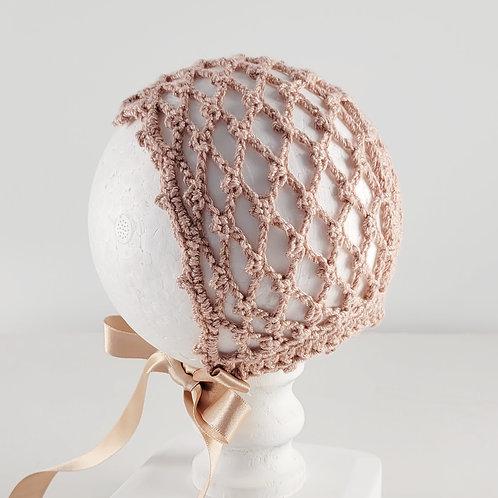 Dusty Pink Cotton Crochet Bonnet | X Small