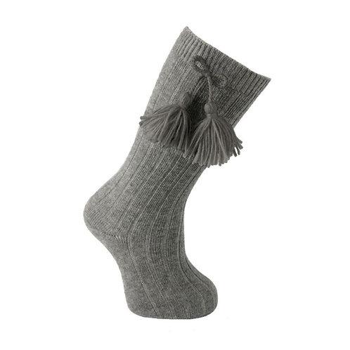 Carlomagno 2408 Grey Ribbed Tassel Knee High Sock