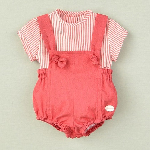 Cocote Red Overalls w/ Stripe Shirt | 12m