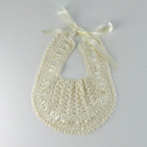Cream Crochet Bib with Ribbon