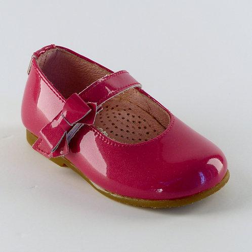 Bambi Patent Fuschia Bow Dolly Shoe
