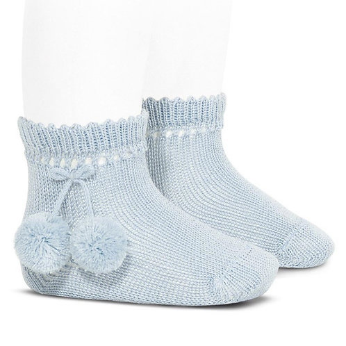 Condor 2504/4 Pom Pom Ankle Sock | White