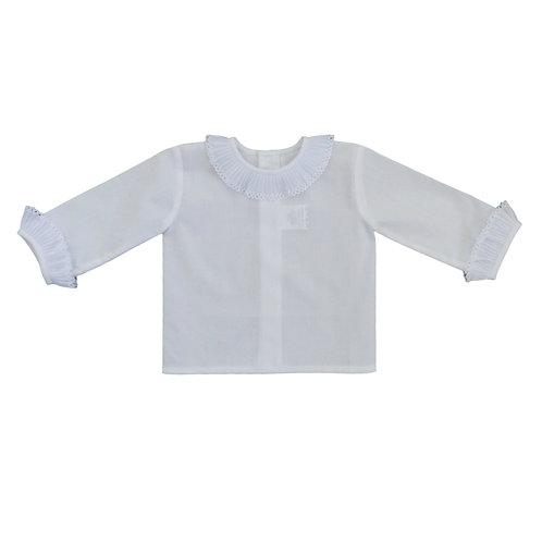 Creaciones Gavidia White Ruffle Shirt