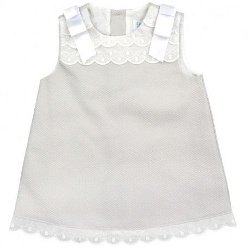 Spanish Dulce de Fresa Grey Pique Dress with White Trim