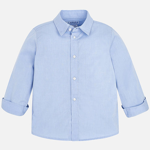 Spanish Mayoral Plain Blue Shirt with Long Sleeve Front