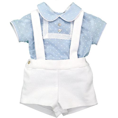 Dulce de Fresa Pale Blue Shirt & Romper | 3m