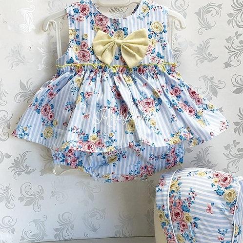 Baby Ferr Blue Stripe Dress w/ Bonnet & Bloomers | 6m