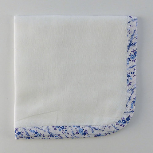 White Muslin Burp Cloth with Blue Liberty Edge