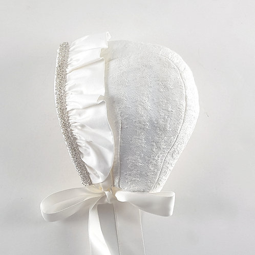 Small Dreams Bonnet with Frill & Bead Trim | Cream