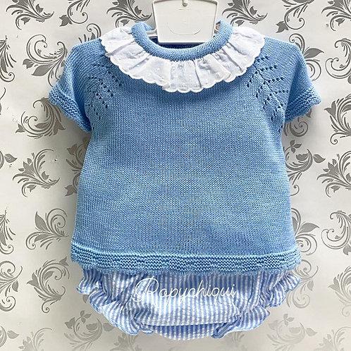 Tony Bambino Blue Knit Top & Bloomers Set | 6m